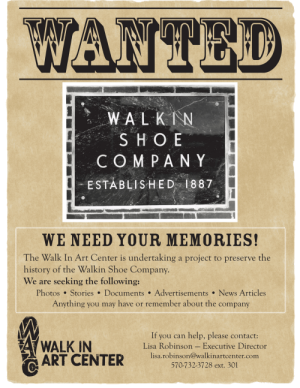 Walkin Shoe Co. History Wanted Poster